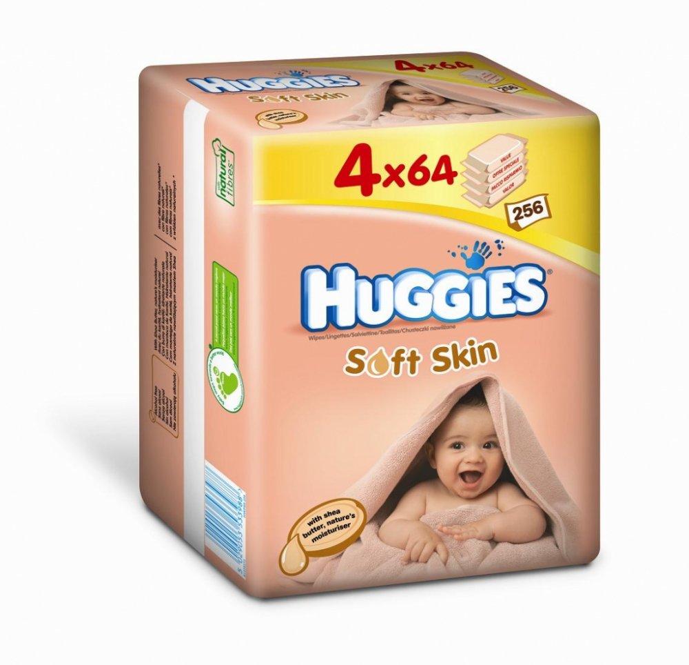 HUGGIES Vlhčené ubrousky Soft Skin 64x4 ks