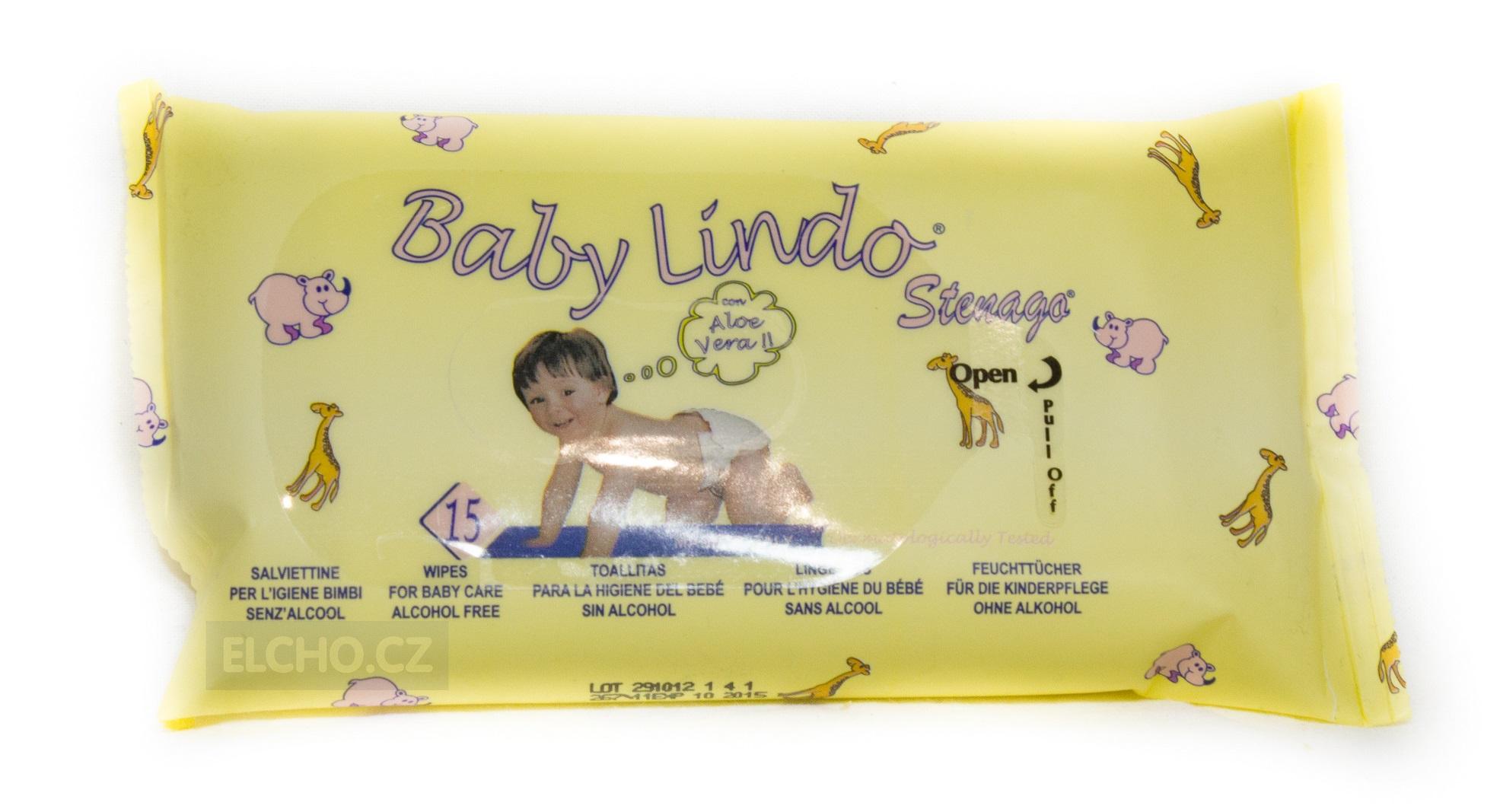 BABY Lindo dětské vlhčené ubrousky 15ks