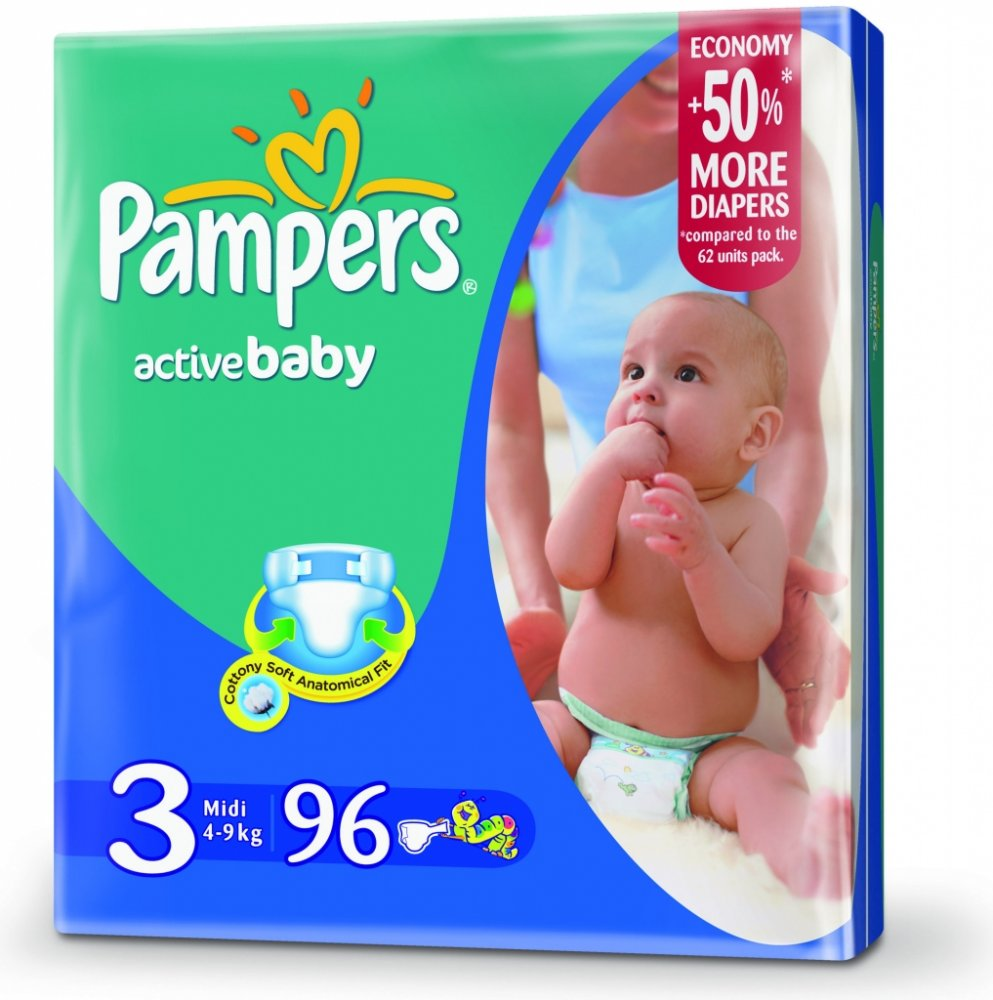 PAMPERS Active Baby 3 midi 4-9kg 96ks