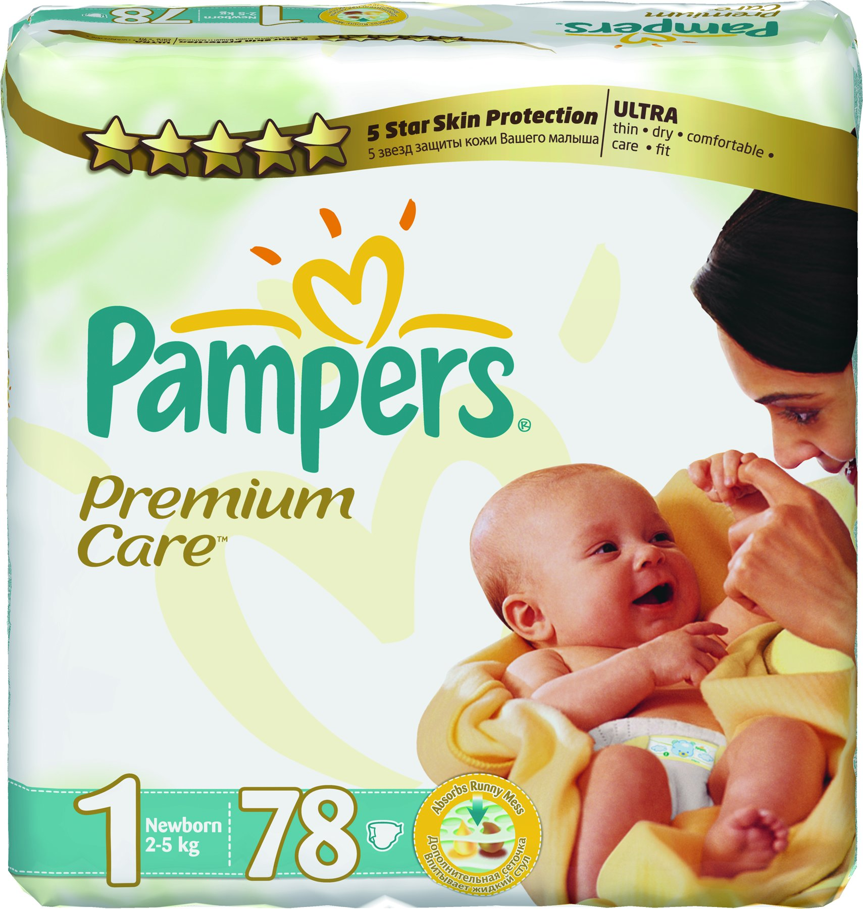 PAMPERS Premium Care 1 Newborn 2-5kg 78ks