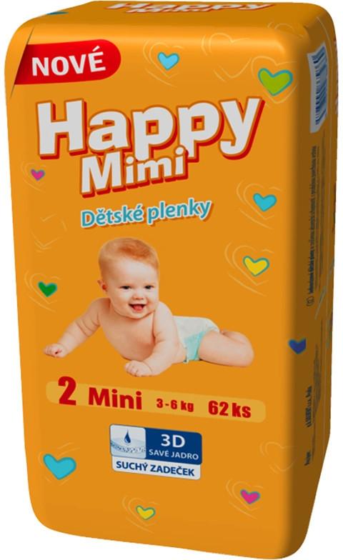 HAPPY Mimi Standard Mini 2 3-6kg 62ks