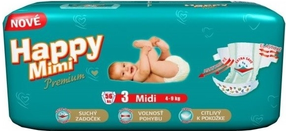HAPPY Mimi Premium Midi 3 4-9kg 56ks