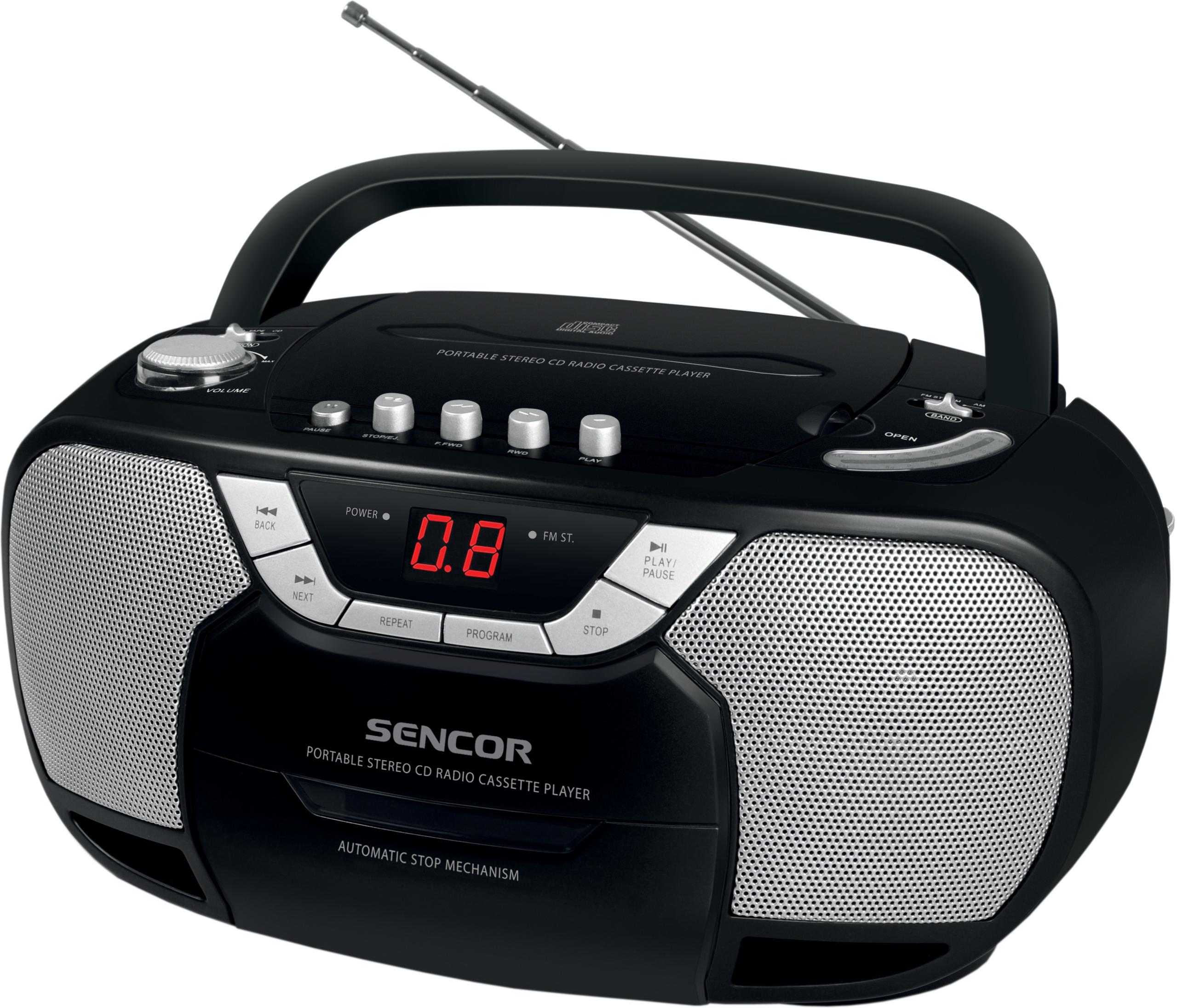 SENCOR SPT 207 radiomagnetofon s CD černý